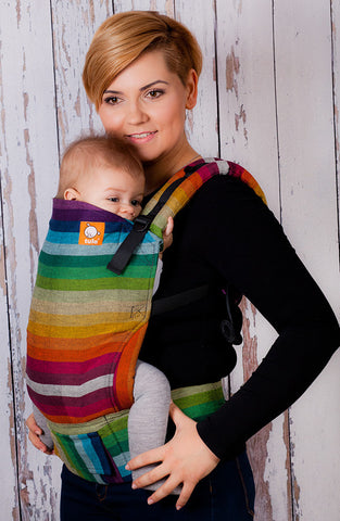 (Standard Size) Full Wrap Conversion Tula Baby Carrier - Girasol Iridescence Cuervo Weft - Baby Tula