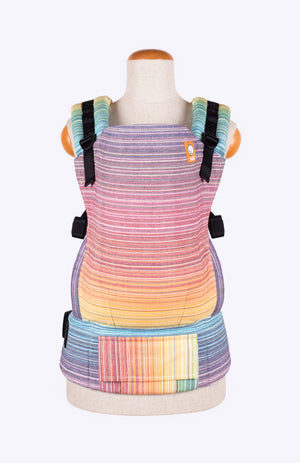 Full Toddler Wrap Conversion Carrier - Girasol Magnificent Rainbow Crema de Nube Weft
