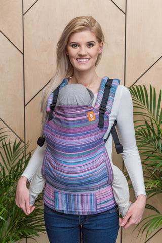 Half Standard Wrap Conversion Carrier - Myth Rosa Fucsia Weft Herringbone Weave - Baby Tula