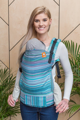Half Toddler Wrap Conversion Carrier - Myth Tinte Azul Weft Herringbone Weave - Baby Tula