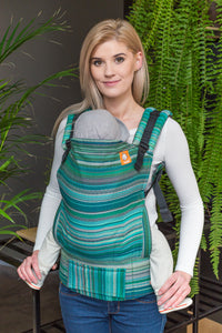 Half Toddler Wrap Conversion Carrier - Myth Verde Lecho Weft Herringbone Weave - Baby Tula