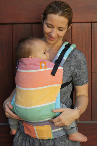 (Toddler Size) Half Wrap Conversion Tula - Girasol Rainbow Herringbone - Baby Tula