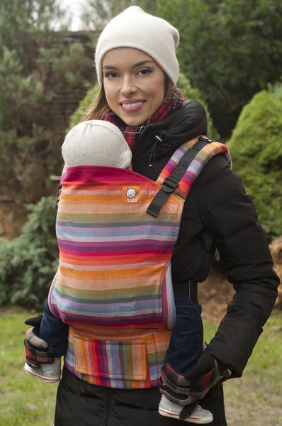 Half Standard Wrap Conversion Carrier - Rebell Rainbow Rojo Rococo - Baby Tula