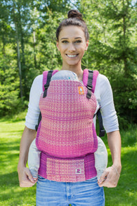 Half Standard Wrap Conversion Carrier - Rise Hot Pink Weft - Baby Tula