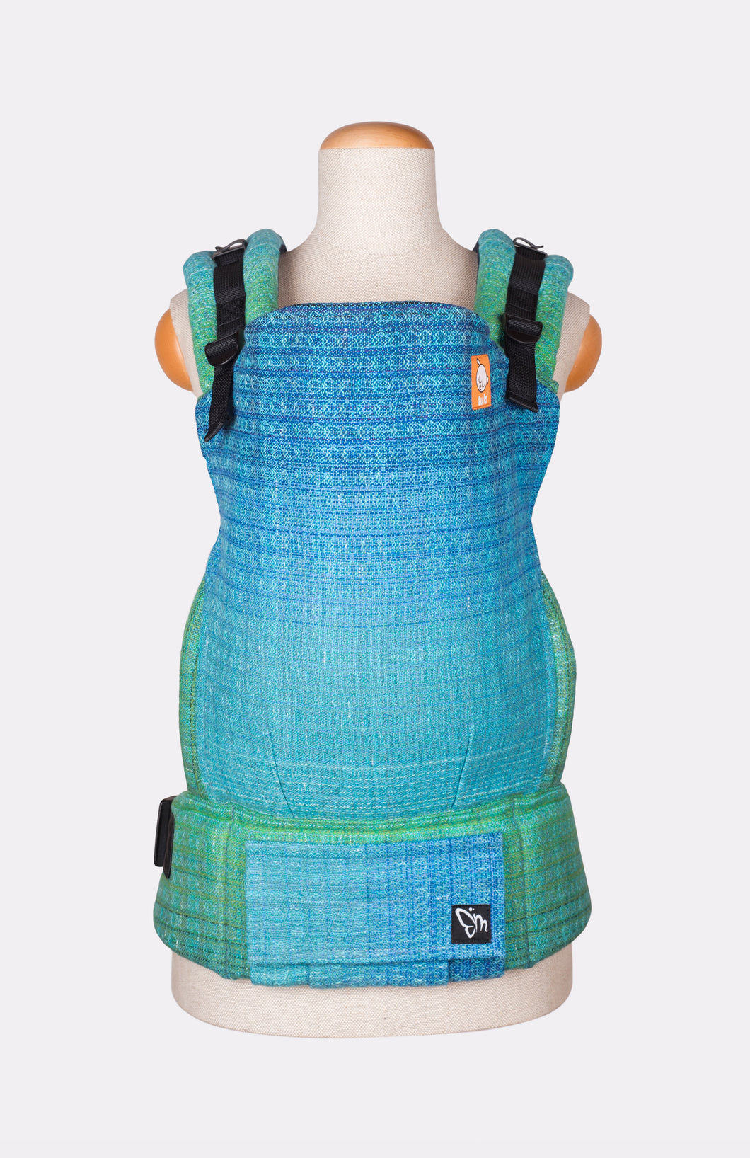 Half Standard Wrap Conversion Carrier - Magabi Nourish and not Nourishing Turquoise and Teal Weft - Baby Tula