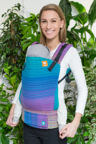 Half Standard Wrap Conversion Carrier - Avery Medium Blue Weft - Baby Tula