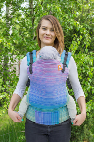Half Standard Wrap Conversion Carrier - Evangeline Medium Blue Weft - Baby Tula