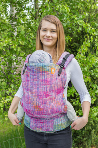 Half Toddler Wrap Conversion Carrier - Colorful Chicken Royal Weft - Baby Tula