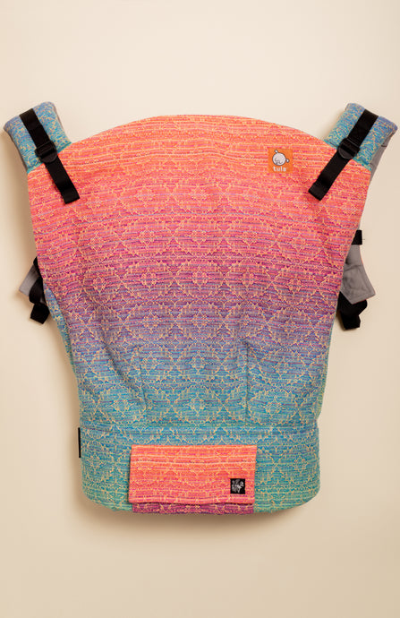 Apple Blossom Wovens + ChiciBeanz Handwoven Sugar Reef (gold weft kaleidoscope weave) - Tula Signature Preschool Carrier