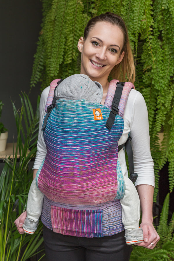 f90deebbdde Half Toddler Wrap Conversion Carrier - Baby Steps Purple Weft - Baby Tula