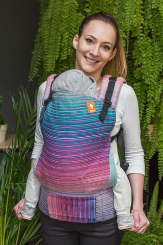 Half Toddler Wrap Conversion Carrier - Baby Steps Purple Weft - Baby Tula
