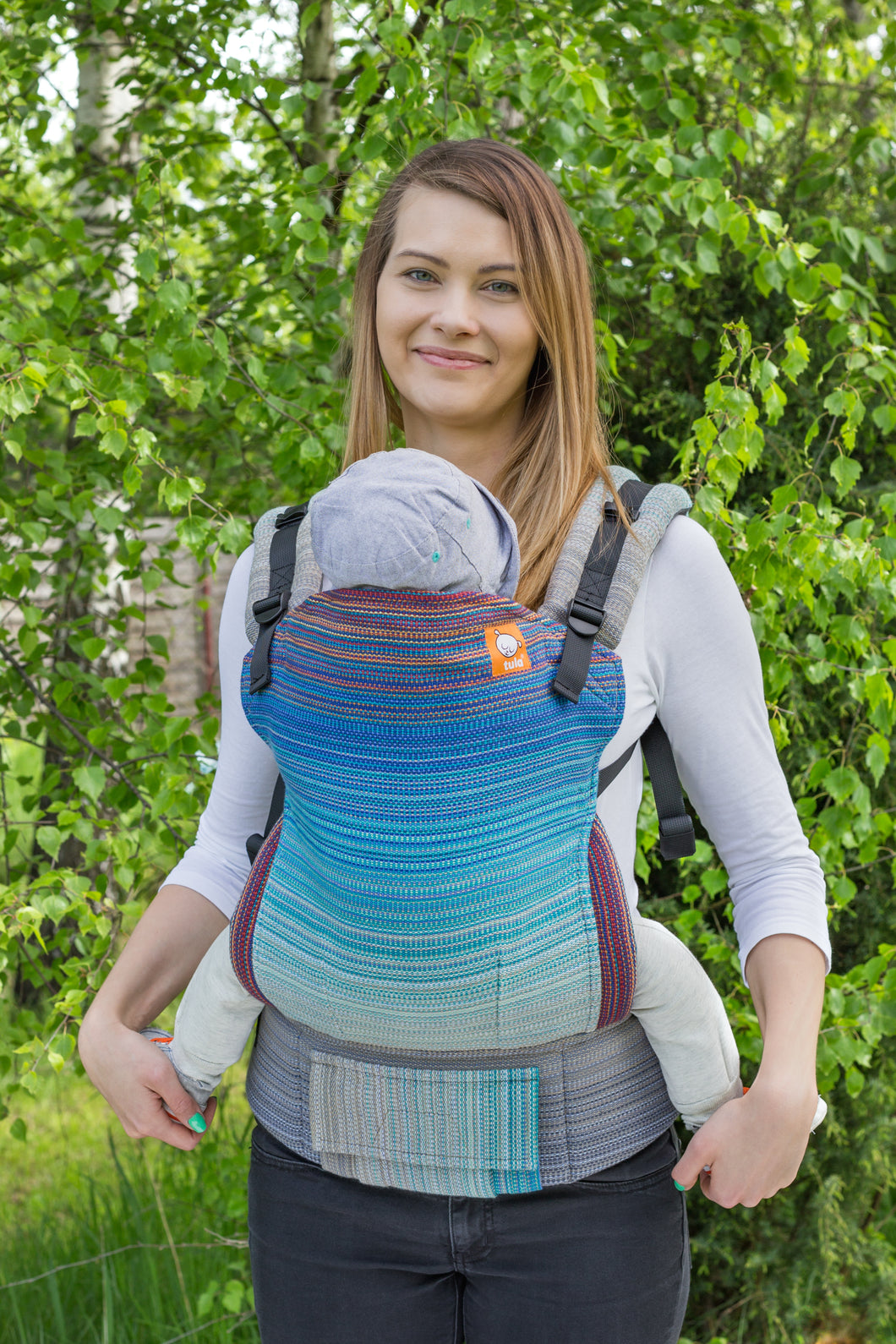 Half Toddler Wrap Conversion Carrier - Delta Bright Blue Weft - Baby Tula