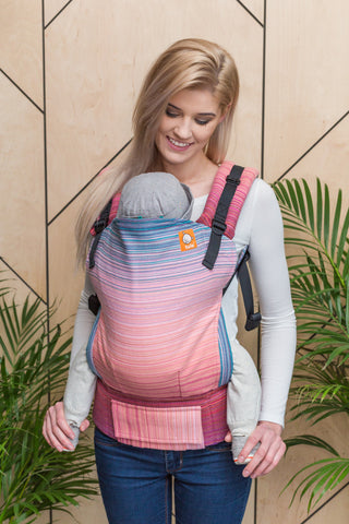 Half Toddler Wrap Conversion Carrier - Grace Hot Pink Weft - Baby Tula