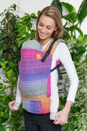 Half Standard Wrap Conversion Carrier - Rainbow Portal Pink Pima Weft - Baby Tula