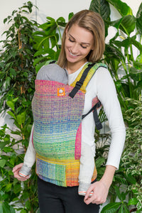 Half Standard Wrap Conversion Carrier - Rainbow Portal Pink Yellow Weft - Baby Tula