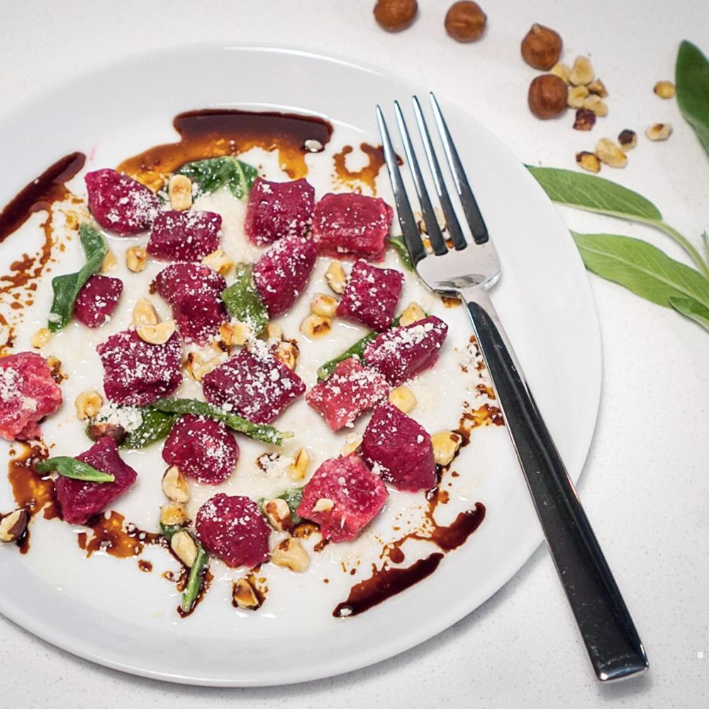 Beet Gnocchi with Hazelnuts and Sage