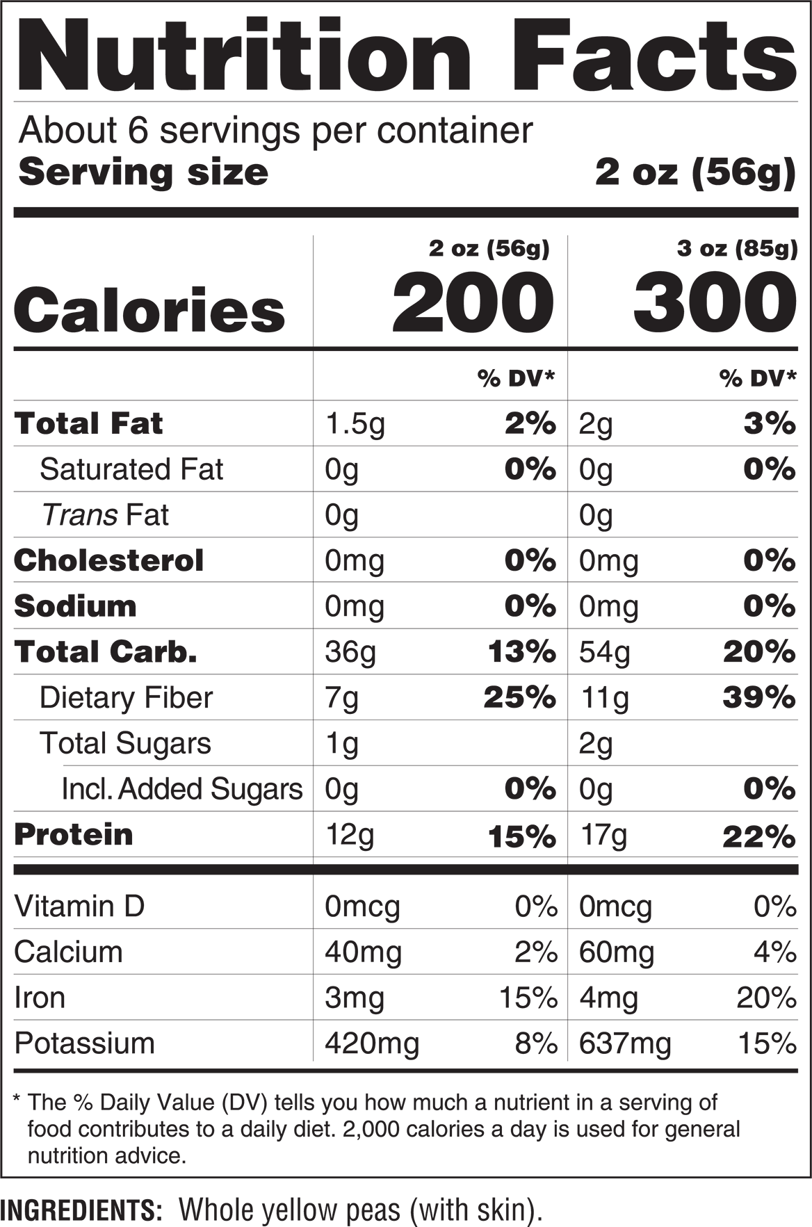 ZENB Pasta Nutritional Facts