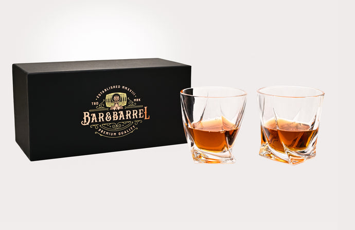 Bar & Barrel - Premium Twisted Crystal Whiskey Glasses Twin Set