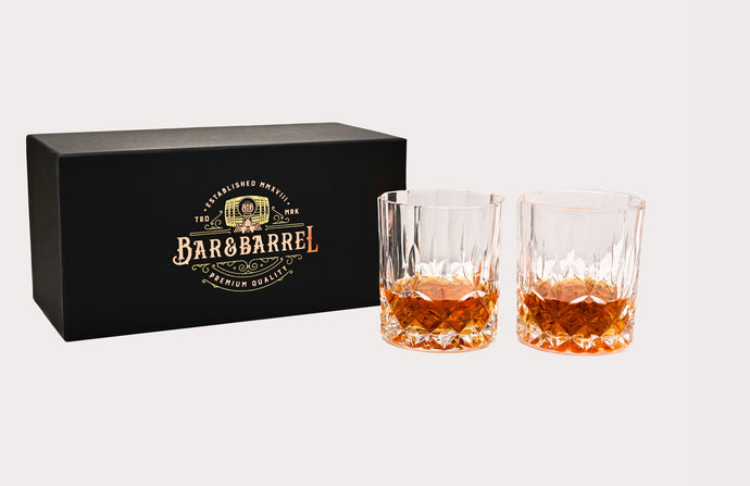 Bar & Barrel - Premium Classic Cut Engraved Crystal Whiskey Glasses Twin Set