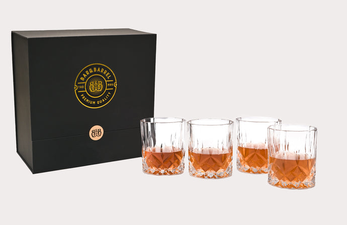 Bar & Barrel - Premium Classic Cut Engraved Crystal Whiskey Glasses Gift Set