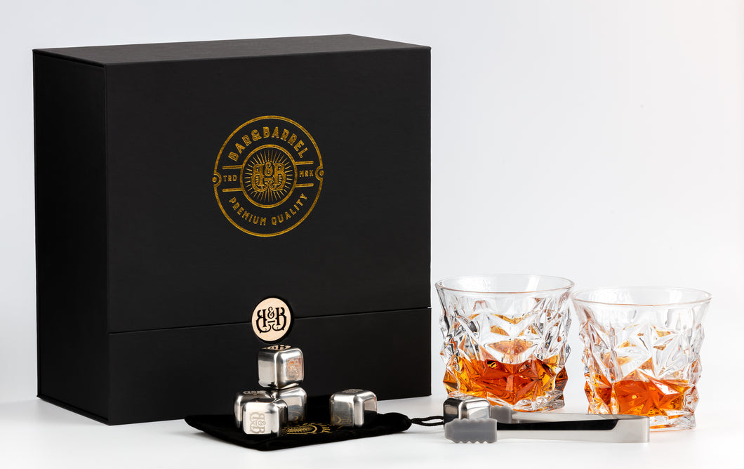 Bar & Barrel - Premium Diamond Cut Crystal Whiskey Glass with Chiller Stones