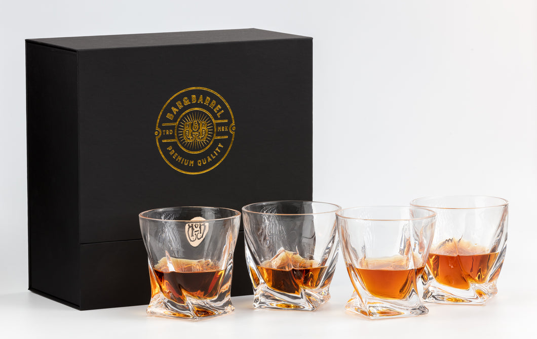 Bar & Barrel - Premium Twisted Crystal Whiskey Glasses Gift Set