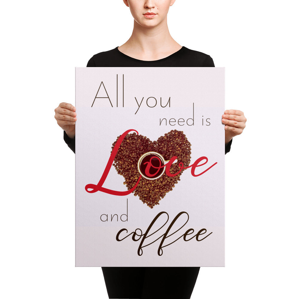 ... All You Need Is Love And Coffee Canvas Wall Art Print Kitchen Decor ...
