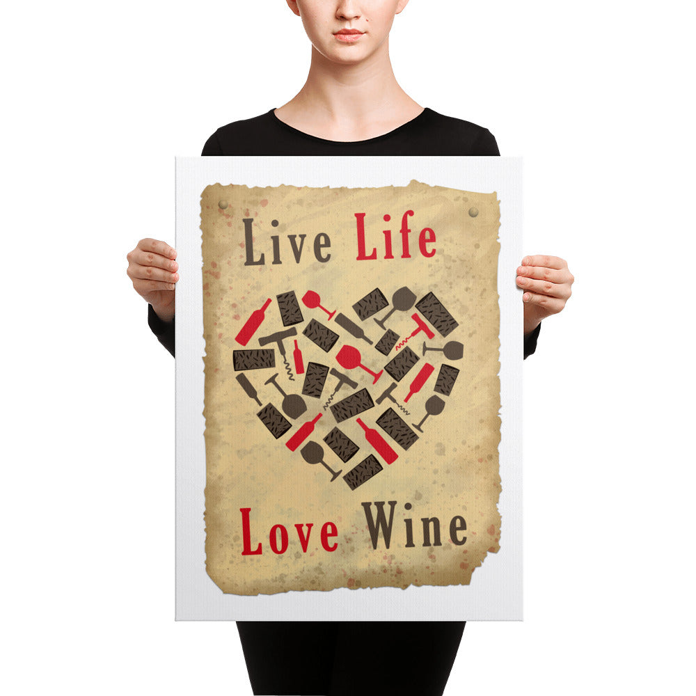 Live Life & Love Wine Canvas Wall Art Kitchen Decor – Canvas Madness