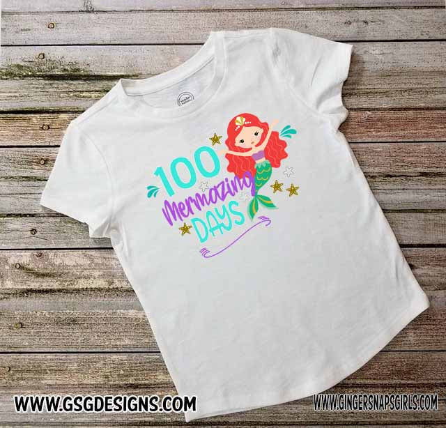 100 Mermazing Days Kids 100 Days of School Mermaid Red Hair Digital Design File