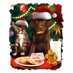 For Santa Puppy and Kitten Christmas Cookies Screen Print Plastisol Transfers RTS
