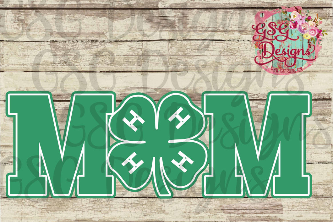 4H Mom Clover Digital Design File PNG
