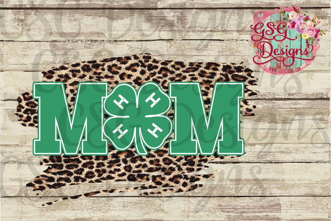 4H Mom Clover with Leopard Digital Design File PNG