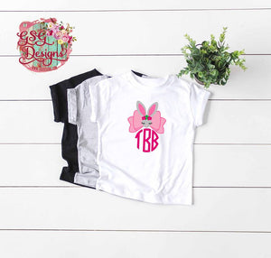 Monogram Bow Easter Rabbit Personalized Bunny Sublimation Transfers
