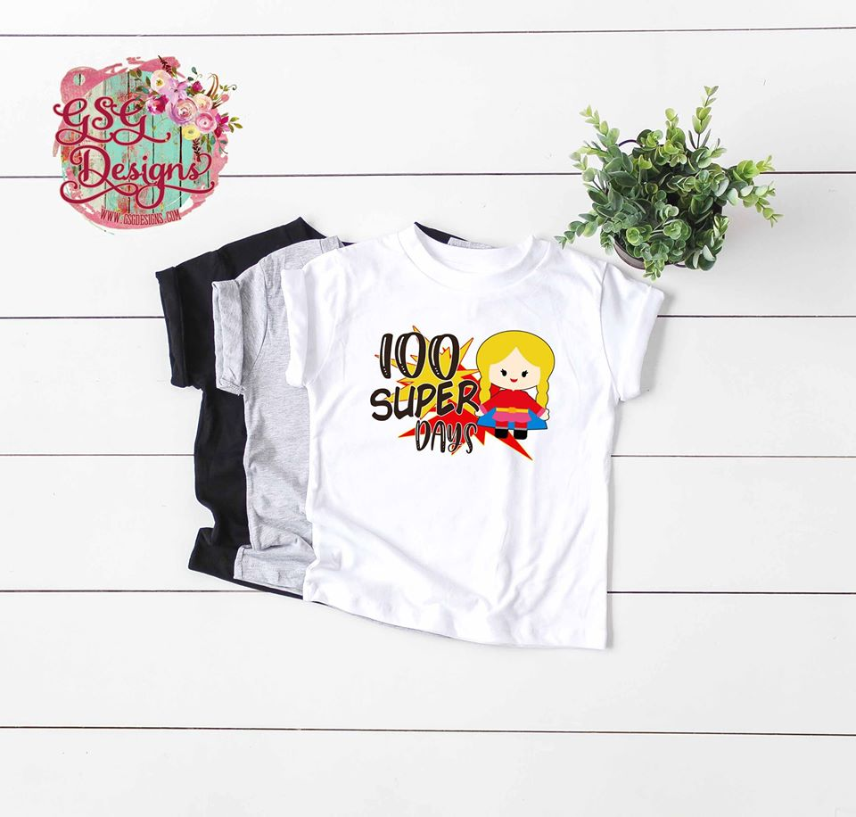 100 Super Days Custom Kids Super Hero Sublimation Transfers