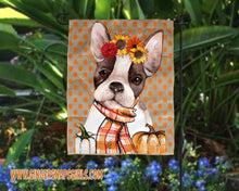 Load image into Gallery viewer, Autumn Frenchie, French Bulldog with Scarf, Sunflowers, and Pumpkins Sublimation Transfers