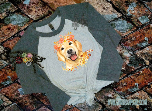 Autumn Labrador with Fall Flowers Sublimation Transfers