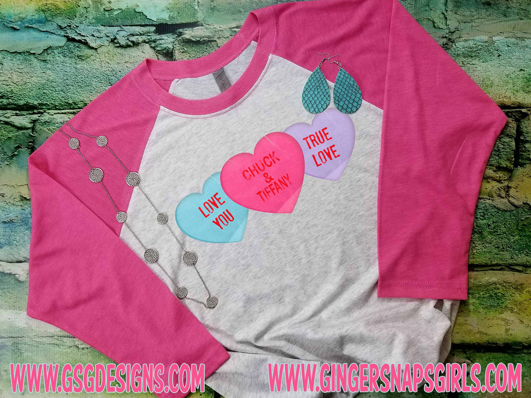 Custom Sweet Heart Candy Valentine's Day Personalized vintage style Sublimation Transfers
