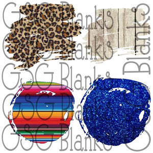 Cheetah Blue Glitter Serape White Bleached Wood Brushed Circle Clipart and Brush Design Clipart for Printing or Sublimation and Design