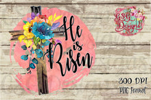 Load image into Gallery viewer, He is Risen Floral Easter Cross Sublimation Transfers