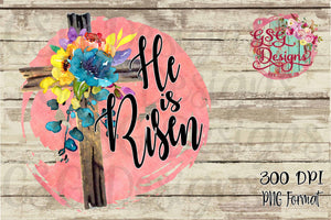 He is Risen Floral Easter Cross Sublimation Transfers