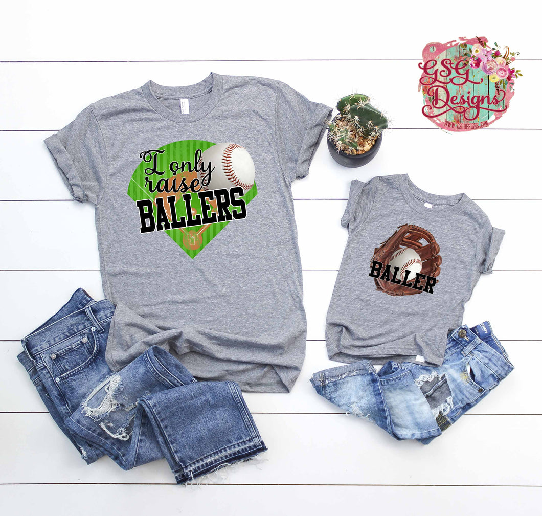 I Only Raise Ballers and Baller Mommy and Me Baseball Sublimation Transfers