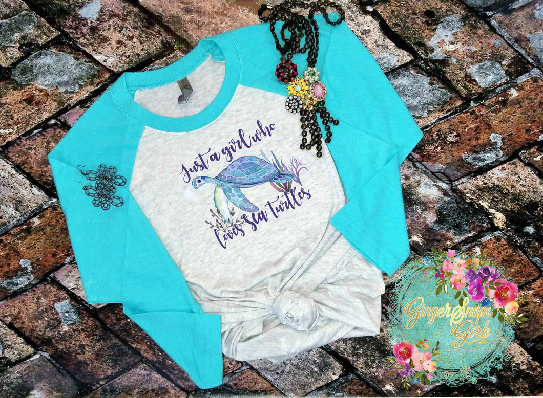 Just a Girl Who Loves Sea Turtles Watercolor Sublimation Transfers
