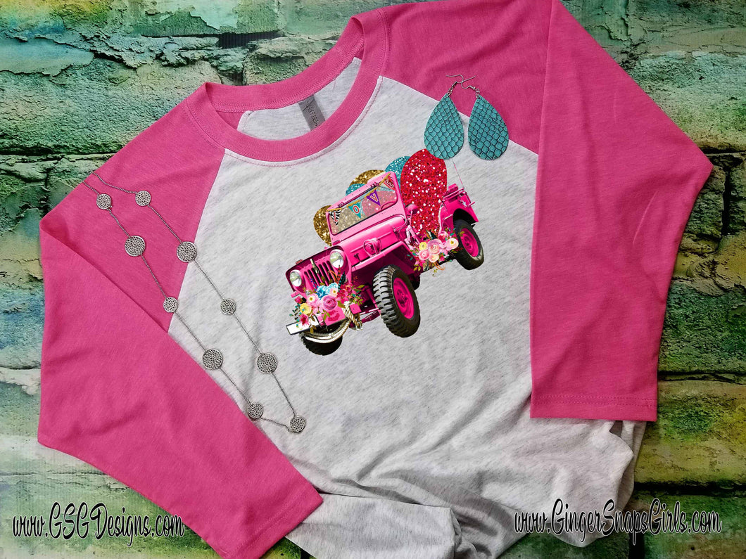 Love Jeep Floral Valentine's Day Digital Print and Sublimation Design File