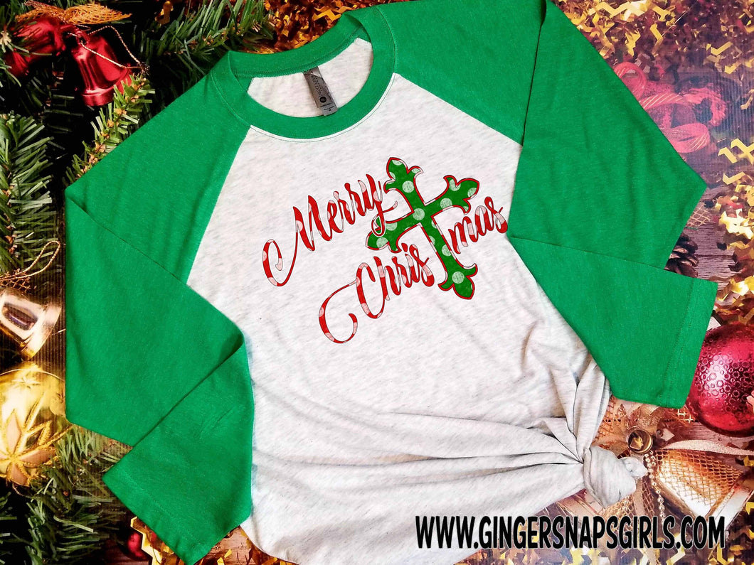 Merry Christmas Cross Red and Green Polka Dot Christmas Sublimation Transfers