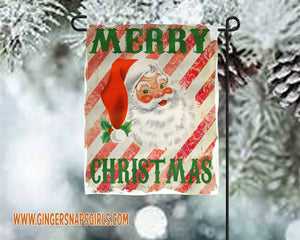 Merry Christmas Santa Red and White Striped vintage style Sublimation Transfers