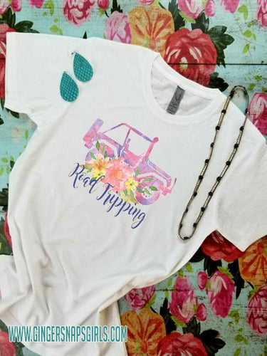 Road Trippin', Watercolor Jeep & Flowers Sublimation Design File