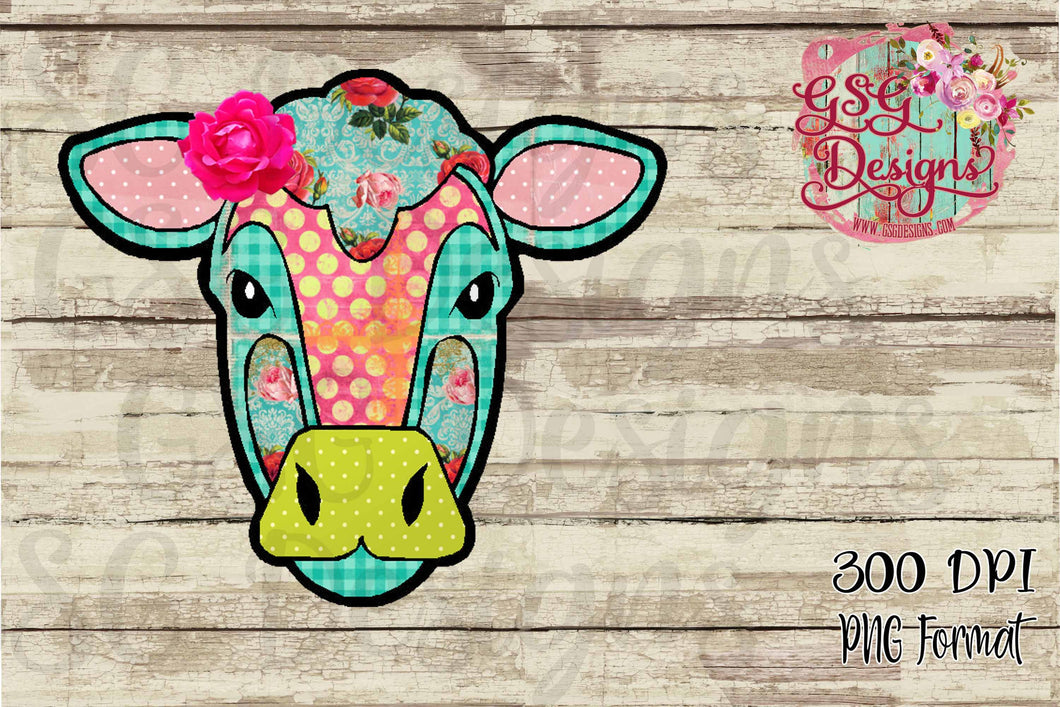 Shabby Chic Floral Cow Printable and Sublimation Digital Design File
