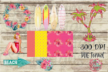 Load image into Gallery viewer, Tropical Beach Summer Clip art Set, Flowers Wreath, Watercolor Surfboards, Vintage Pin Up Girl, Digital Seamless Paper, digital design files