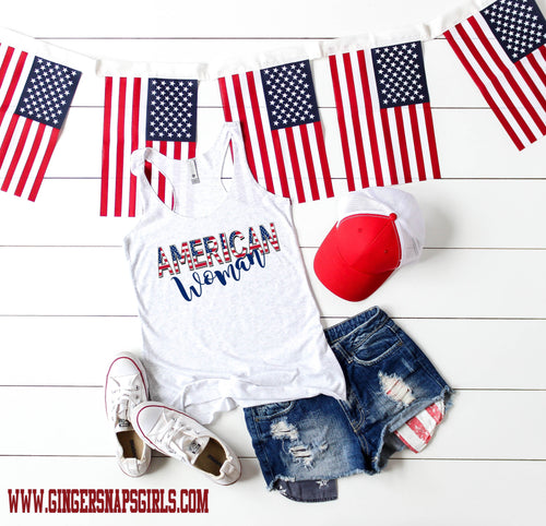 American Woman patriotic Sublimation Transfers