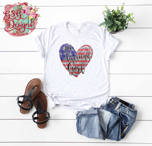 An American Girl Glitter American Flag Heart Sublimation Transfers